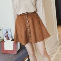New arrivals suede high waist thin A-line skirt female 2017 autumn sexy brown double breasted short skirts