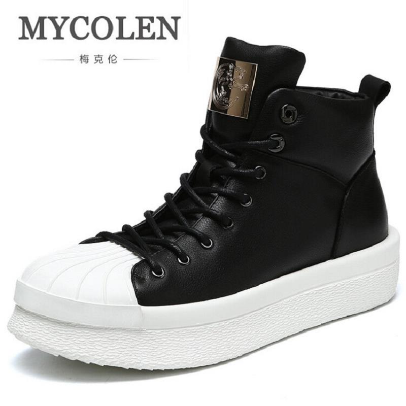 MYCOLEN Men Boots Stylish Winter Punk Men Boots Leather Martin Men Boots Outdoor Comfortable Winter Shoes Leisure Bota Masculina
