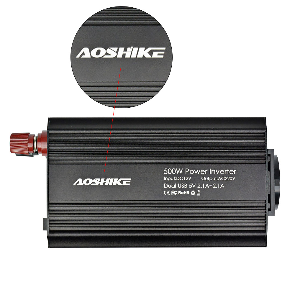 Image 5 - AOSHIKE Dual USB 4.2A inverter 12v 220v 300W 500W EU Car Power Inverter 12V to 220V Auto Voltage Transformer Car Adapter-in Car Inverters from Automobiles & Motorcycles