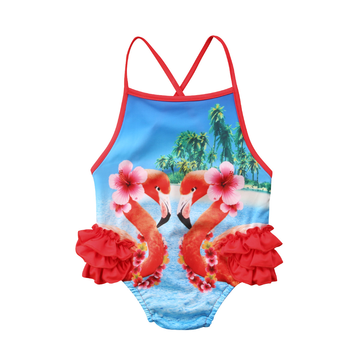 Baby Girls One Piece Swimsuit Floral Swimwear Bathing Suit Toddler Ruffle Sleeve Backless Beachwear