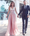 elegant  pink long evening dresses 2017 appliques lace womens pageant gown v neck beaded chiffon formal prom party vestido festa