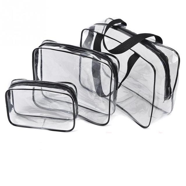 21de0f9b304e 3pcs Waterproof Transparent Cosmetic Bag Set Travel Organizer Makeup Bag  Case Toiletry Bag Beauty Case Large Capacity Wash Tote-in Cosmetic Bags &  ...