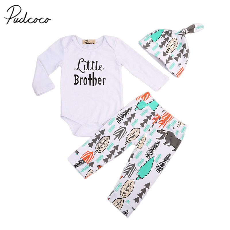 Cute Newborn Infant Baby Boys Girls Romper Tops+Pants+Hat 3PCS Outfits Set Clothes