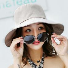 Spring Summer Wide Brim Hats Casual Cap Foldable Sun Beach Autumn Visors Anti-UV Women's hat Cotton  Linen
