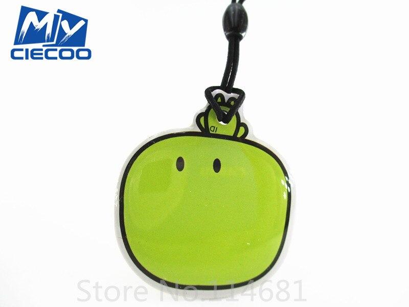free shipping cartoon green apple 125Khz RFID Writable Rewrite Proximity T5577 Key Tags Keyfobs blank card 10 pcs/lot