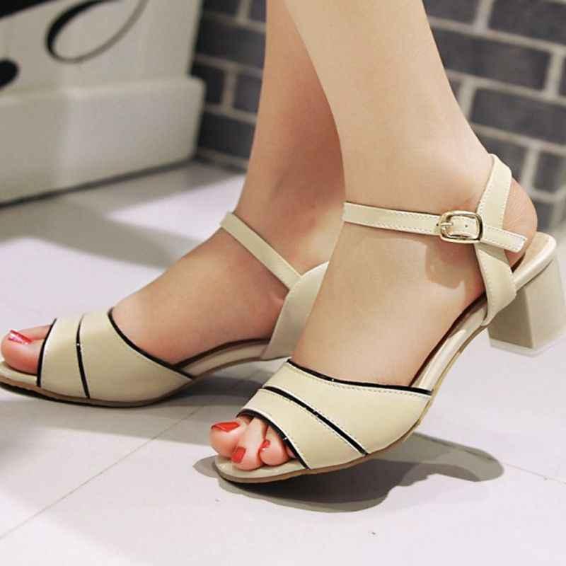 QPLYXCO 2017 Sıcak Yeni Satış Büyük Boy 32-45 Kadın Ayakkabı Kadın Sandalet Yüksek Topuklu Kare Topuklu Moda Yaz ayakkabı M80