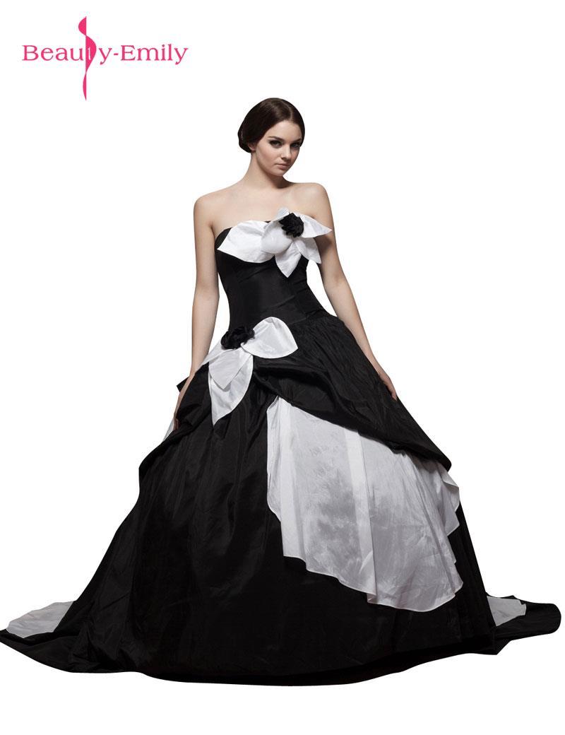 beauty emily black white stain wedding party dresses strapless zipper ball gown sleeveless wedding dresses bridal dresses 2017