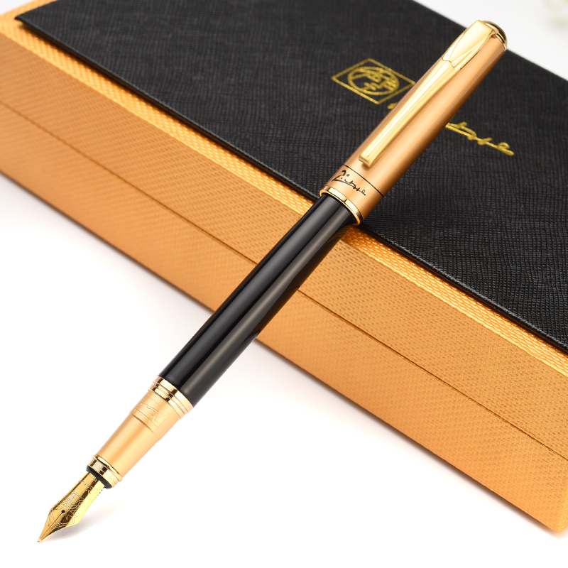 Picasso 906 Luxury Good Quality Black And Golden Medium Nib Ink/Metal/Brand/Fountain Pen With Original Box Free Shipping Pens недорого