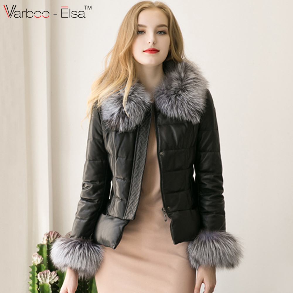 2016 women Autumn Real Leather Jacket Coat Fox Fur Collar ...