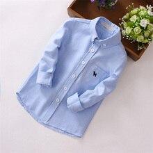 JXYSY/Детские рубашки для мальчиков г. Осенние однотонные рубашки для малышей с длинными рукавами, хлопковые модные брендовые топы для маленьких мальчиков, Детские рубашки