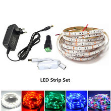 5 M LED Strip 2835 Fluks Bercahaya Lebih Lebih Tinggi dari 5630 5050 LED Strip Lampu 60 LED/M 12 V Lampu String Dekorasi + Eu/US Adaptor(China)