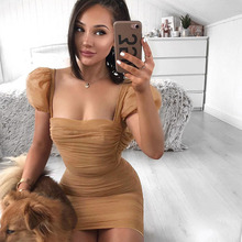 New women's mesh dress sexy perspective pleated lantern sleeve dress club party backless chest slim dress plus embroidered mesh insert pleated sleeve bardot dress