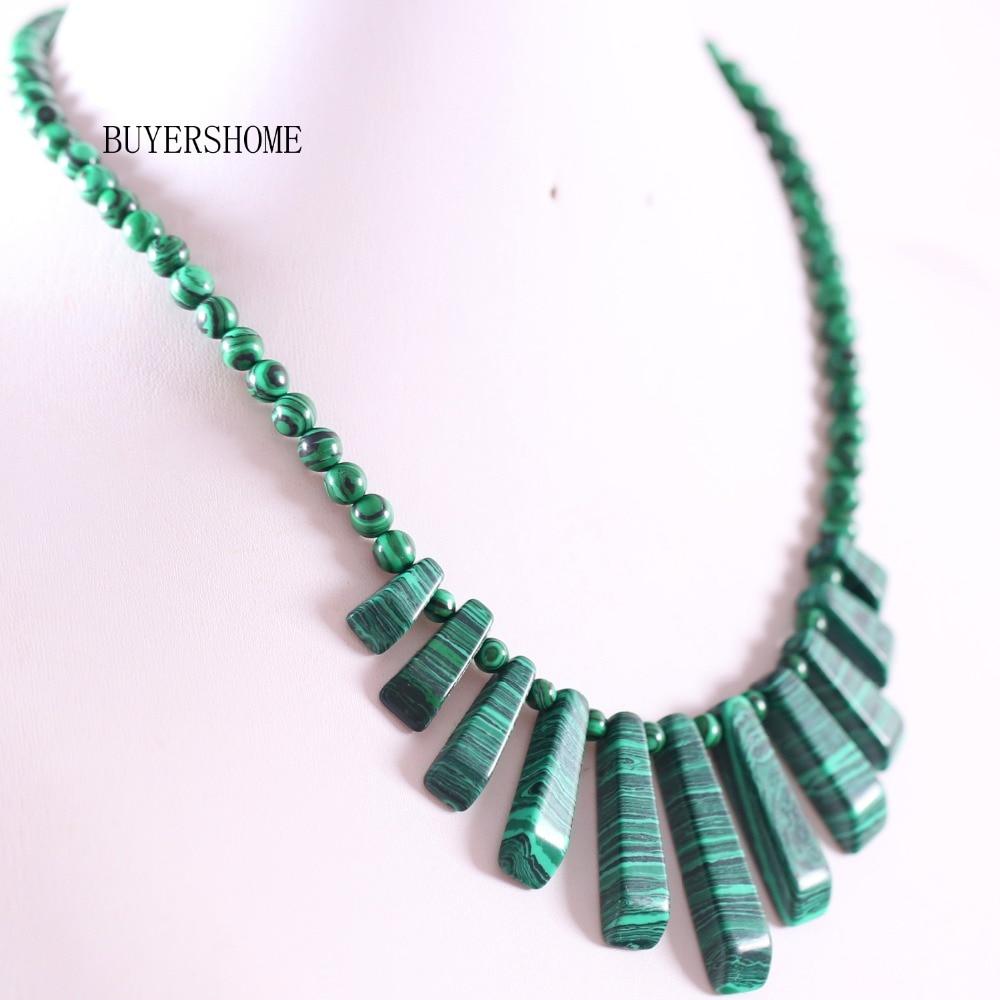 "New Women/'s 13x18mm Vert Malachite Ovale Pierres Précieuses Perles Collier 18/"""