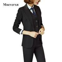 Femmes professionnelles costumes trois pièces ensembles pour automne hiver femelle costume d'affaires blazer + pantalon + gilet marine noir solide couleur OL