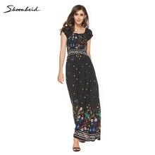 Summer Dresses Boho Style Off Shoulder Long Dress Women Floral Print Vintage  Chiffon Sex Max Dress d81ce59079de