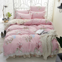 Princess Lace Edge Bedding Set 3 4 Pcs Duvet Cover Pillowcase Bed Skirt Twin Full Queen Flower Lavender Pattern Bed Linen