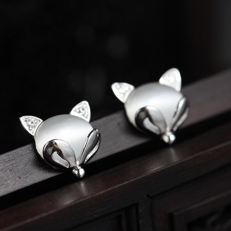 Ecoworld Ge hand set zircon jewelry wholesale 925 sterling silver earrings earrings eye Earrings small fox