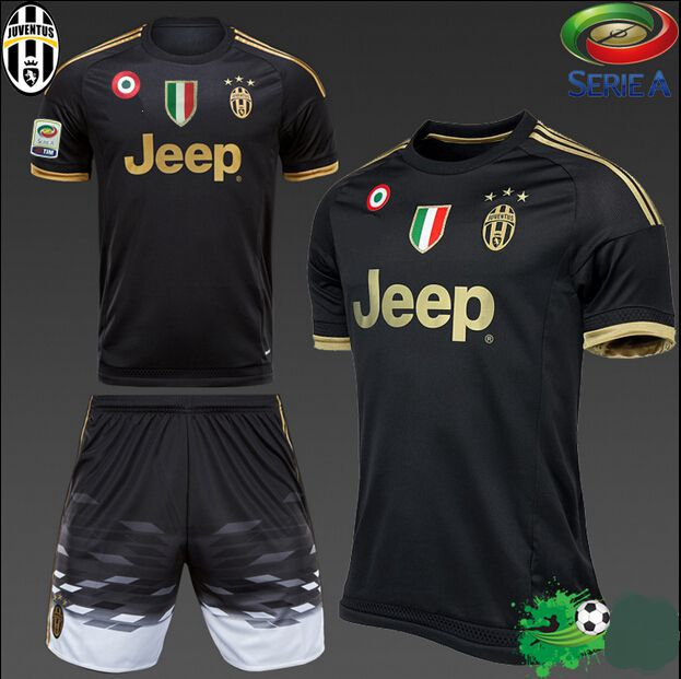 cheaper b9c17 6a465 2015 POGBA kit Italy Serie A soccer jersey+short MORATA 3rd away football  shirt 1516 MARCHISIO black uniforms set Free Add patch