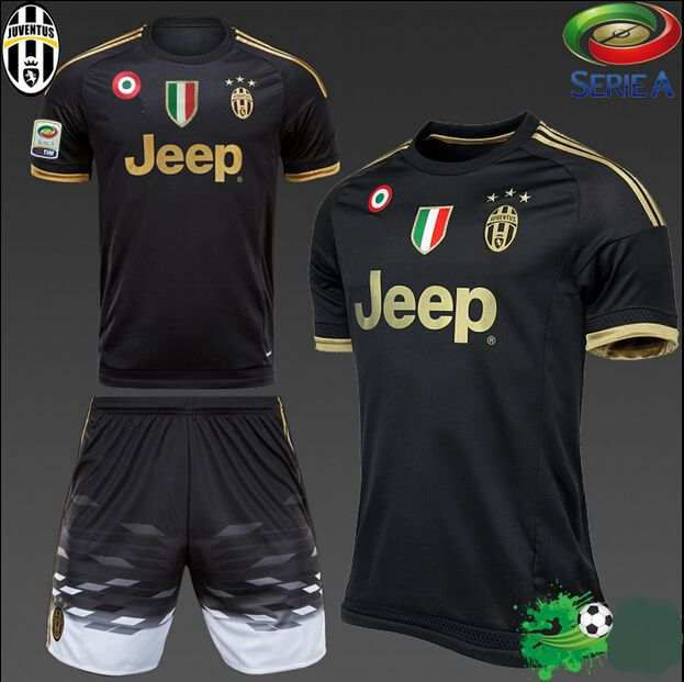 cheaper b83c8 1fda4 2015 POGBA kit Italy Serie A soccer jersey+short MORATA 3rd away football  shirt 1516 MARCHISIO black uniforms set Free Add patch