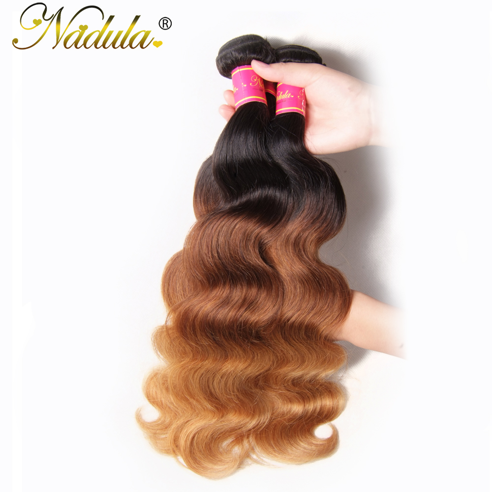 Nadula Hair  Body Wave Ombre Hair Bundles T1B/4/27 3 Tone  Hair s Machine Double Weft 1Bundle Can Be Mixed 3