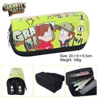 Kawaii Cartoon Gravity Falls Pencil Case Cute Pencil Bag Pouches 2 Zipper Children Student School Stationery