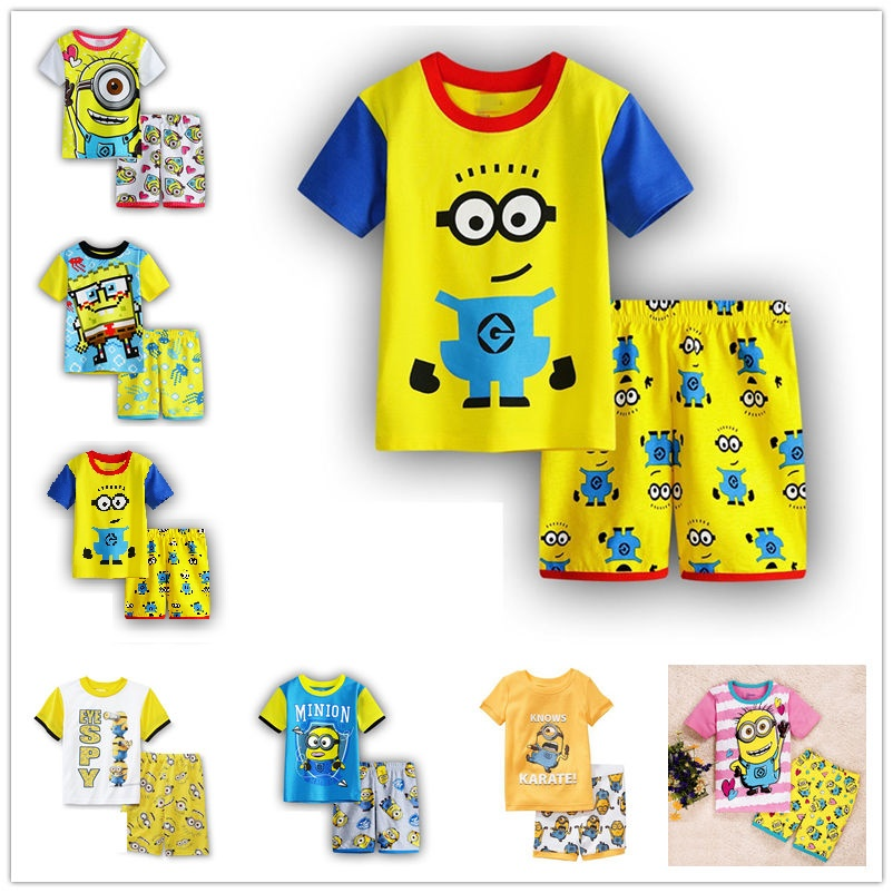 100% Cotton Baby Boys Girls Clothing Set Children Shirt + Pants Set Kids Cartoon Clothes Casual girls Suits 5 Design 2016 Summer