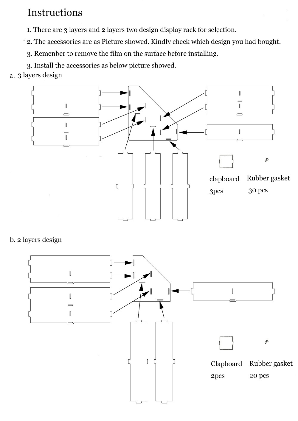 Acrylic display rack instruction