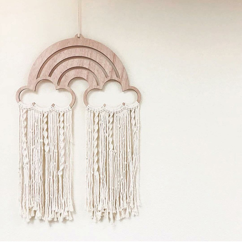 INS Nordic Rainbow Tassels Kids Room Wall Hanging Ornaments Handmade Macrame Bohemia Handcrafted Indian Home Decor Photo Props