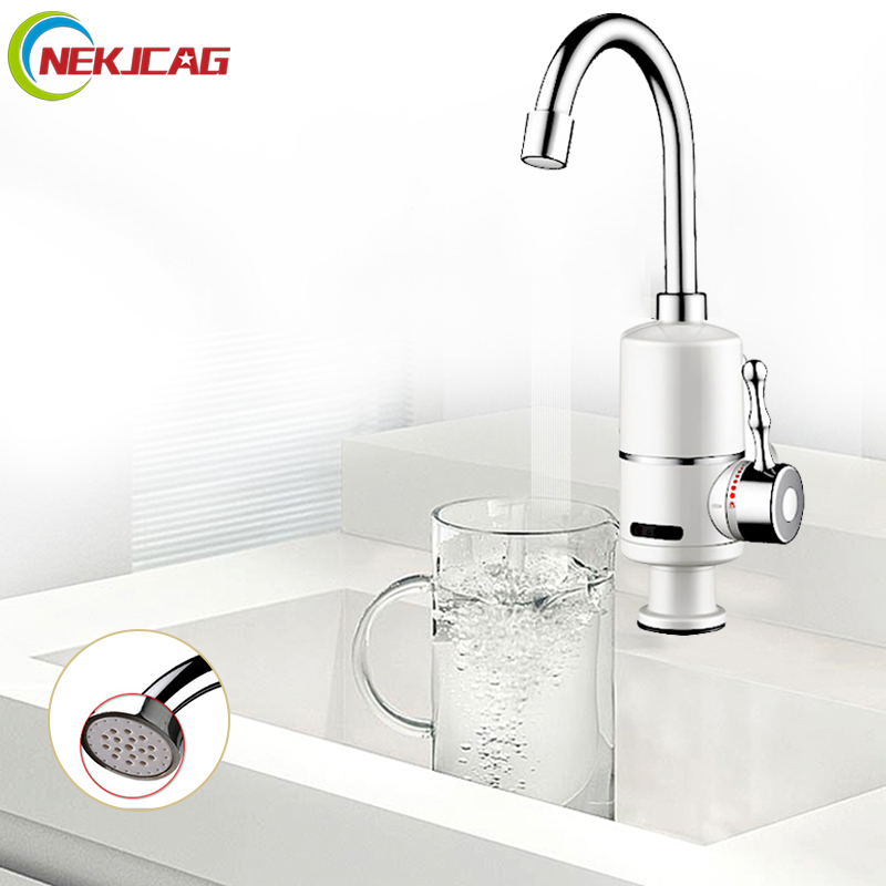 220V 3000W Kitchen Electric Tankless Water Instantaneous Water Heater Kitchen Faucet Electric Faucets 220v 3500w electric water heater kitchen tankless boiler system instantaneous lcd digital under sink electricity saving