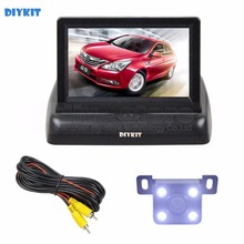 DIYKIT Wired 4.3inch Foldable Rear View Monitor Car Monitor LED Reversing Camera Car Camera Kit Back Up Parking Accessories