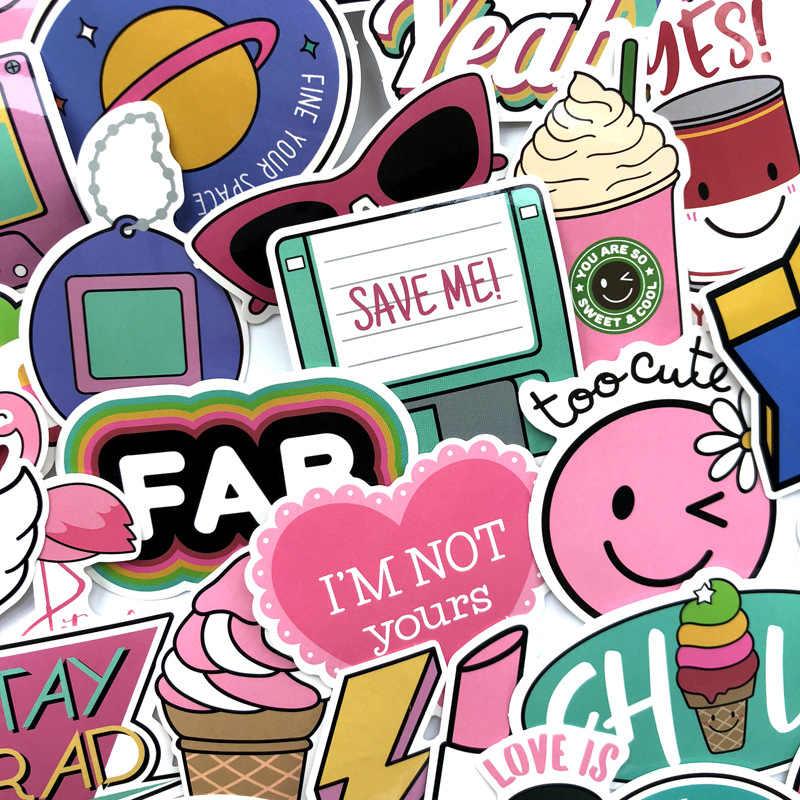 60 шт./компл. милый розовый Стиль граффити наклейки для мото автомобиль и чемодан крутая, для ноутбука единорог; Фламинго Наклейка на скейтборд для девочек F5