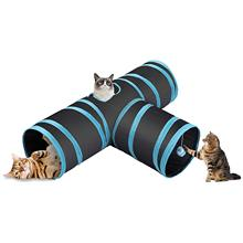 OLN 3 Way Collapsible Cat Tunnel Roomy and Tear Resistant Crinkle Cat Toy Tube with Cat Teaser Storage Bag and Dangling Toys 8in1 cat stain and odor exterminator nm jfc s