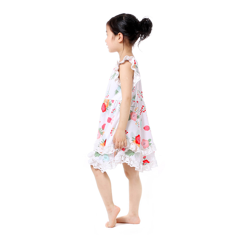 Summer Cotton Baby Girls Kids Boutique Clothes Dress Stiped Floral Lace Trim Ruffle Baby Girls Dress Toddler Outfit  (4)