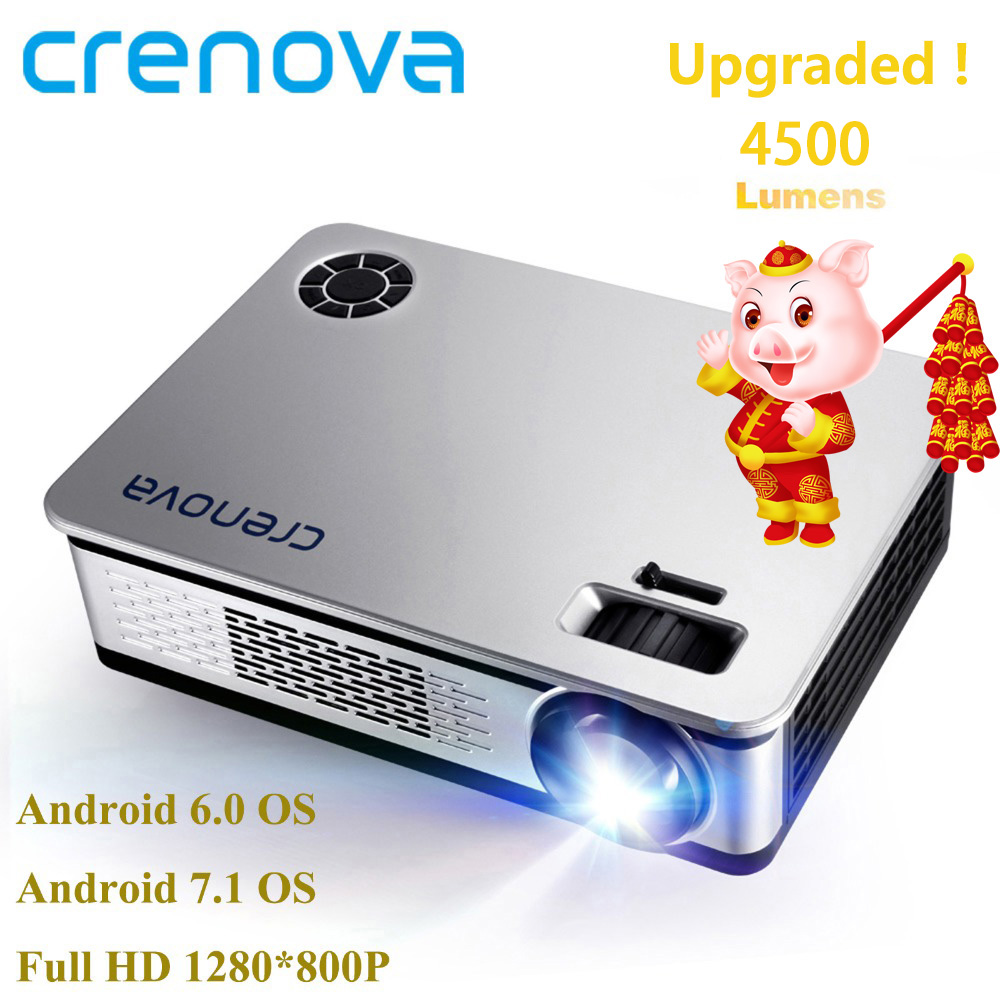 CRENOVA 4500 Lumens Video Projector For Full HD 1920*1080 Android Projector With WIFI Bluetooth Android 6.0 7.1 OS LED Beamer computer intelligence racking machine