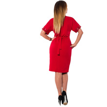 Women Summer Autumn 2017 Plus size L-6XL Party Dress Red Black Sequins Patchwork Short Sleeve Casual Dresses Office Clothing
