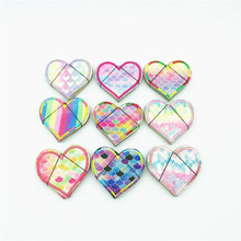 90pcs Mix Color Patches Shine Heart Rainbow Patch with Hat DIY Girl Embroidered Iron On Applique Embroidery