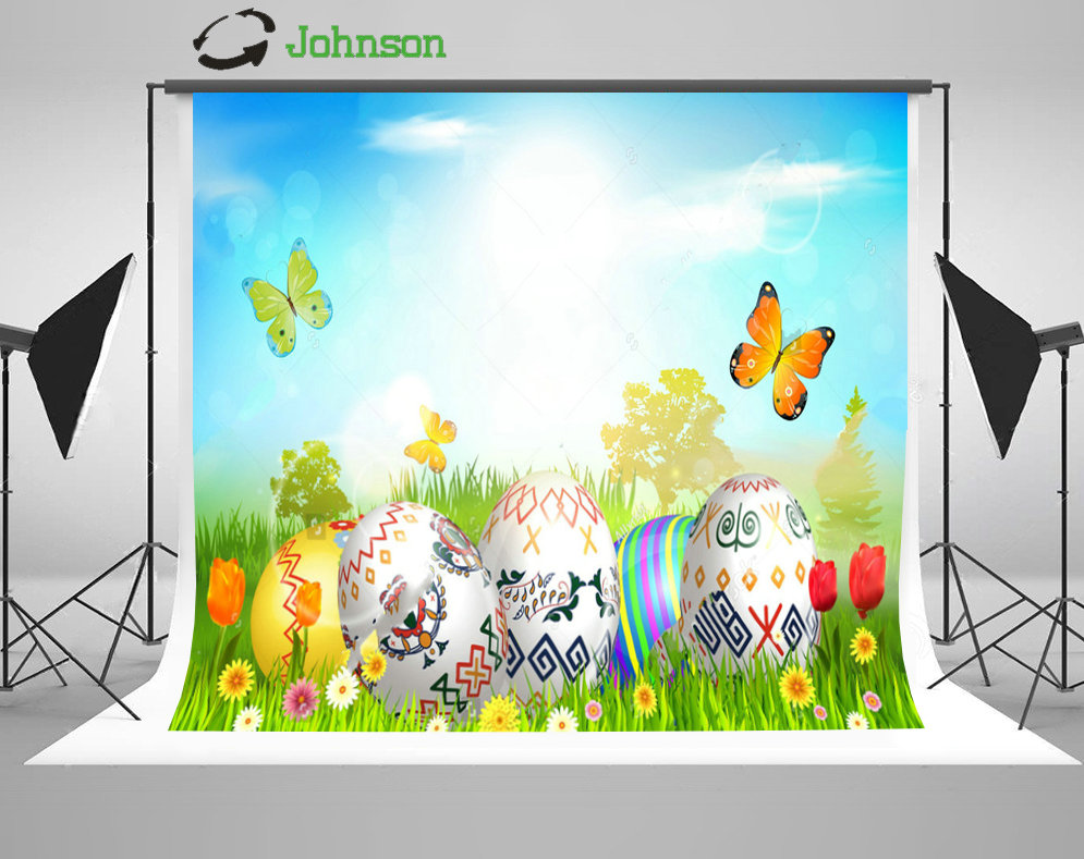 Blue Sky White Clouds Easter Egg Butterfly Flower Grass backdrop polyester or Vinyl cloth Computer print wall background