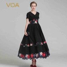 VOA 2017 de Verano Negro Sexy V-cuello de La Alta Cintura de Manga Corta Vestido de Fiesta de seda de La Vendimia Más El Tamaño de Las Mujeres Vestido Maxi de Impresión ALX03801