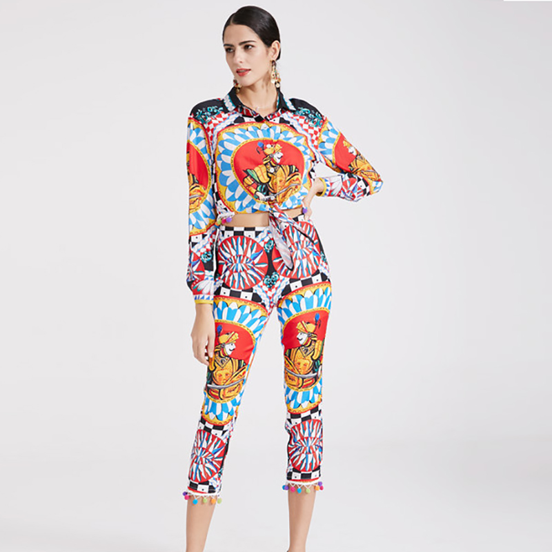 Femmes Turn Pantalon Complet Manches Haute Longueur Assez 2 Ensembles Chemises À Costumes Col Mince Veau Printemps Mode 2019 down Qualité Pièces BwPUfIBq