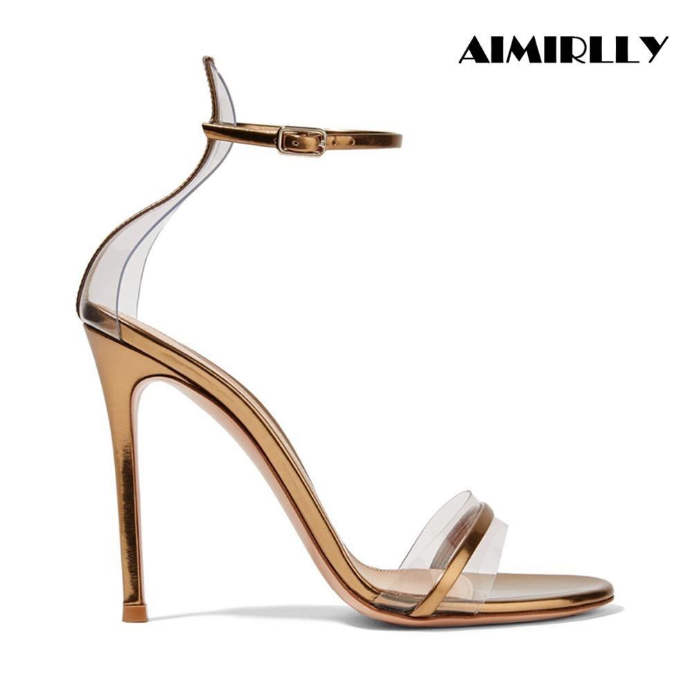 52f11f6f190d47 Polyuréthane Talons Haut Sandales Pvc Cuir Talon La Et En Soirée Simili  Chaussures Aiguilles Bride Cheville Femmes Bout ...