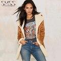 2015 otoño invierno de las nuevas mujeres ropa Tom west Texas vaquero con estilo de imitación de Gamuza de lana de cordero espesar chaqueta de la capa para mujeres