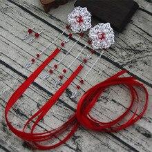 ribbon hairclip chinese style hair clip long tassel hairclip classic hair flower vintage hair accessories недорого