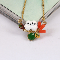 France JUICY GRAPE New Pattern Enamel Snow Owl Glaze Baby Diamond Owl Necklace Clavicle Plated Chain