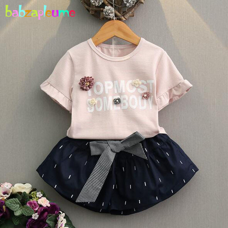 babzapleume summer girls boutique outfits stripe letter t-shirt+skirt baby clothes for children clothing sets kids suits BC1454