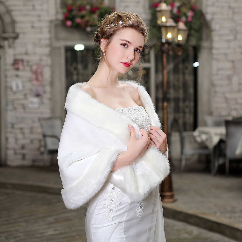 c46aef576f ... Women Winter Faux Fur Shawl Cover Up Bridal Bridesmaids Wedding Wrap  Stole Accessories Female Warm Fur ...