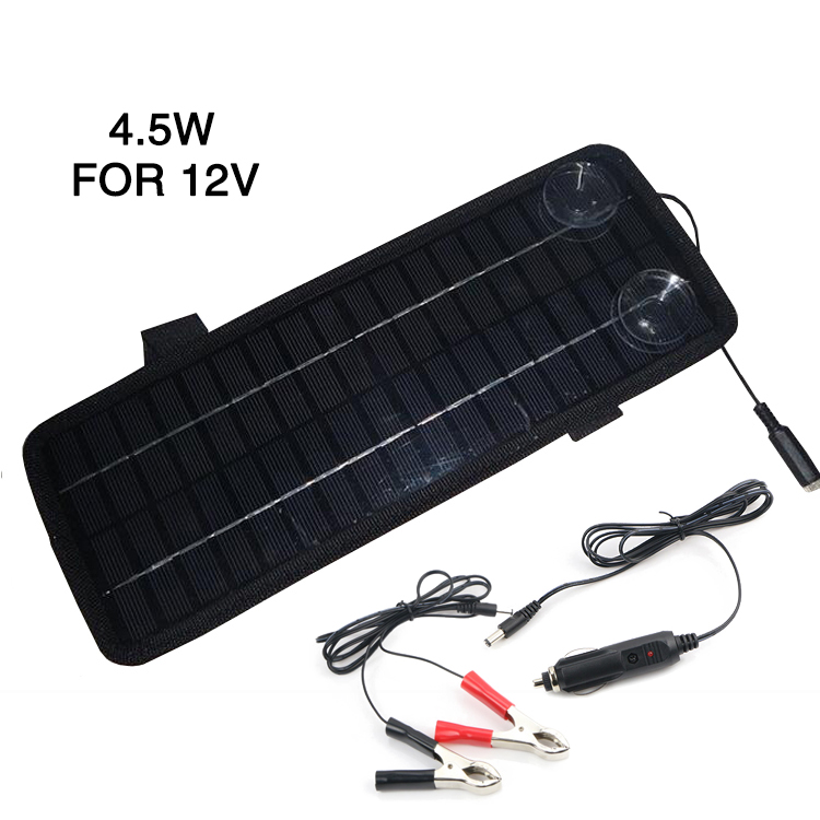 12V 4.5W Portable Monocrystalline Solar Panel Module Car Boat Rechargeable Power Battery Charger
