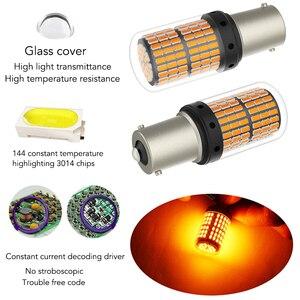 Image 2 - 1 قطعة T20 LED 7440 W21W W21/5W led في Canbus لمبات 144smd 1156 P21W LED BA15S PY21W BAU15S 1157 BAY15D مصباح ل بدوره مصباح إشارة