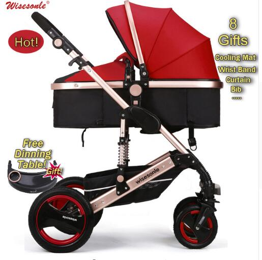 Luxury Baby Stroller 2 in 1  High-Landscape Pram Portable Folding  baby Carriage Cheaper Baby Stroller russian wholesale new luxury baby stroller 3 in 1 high landscape three dimensional four round baby stroller carts strollers