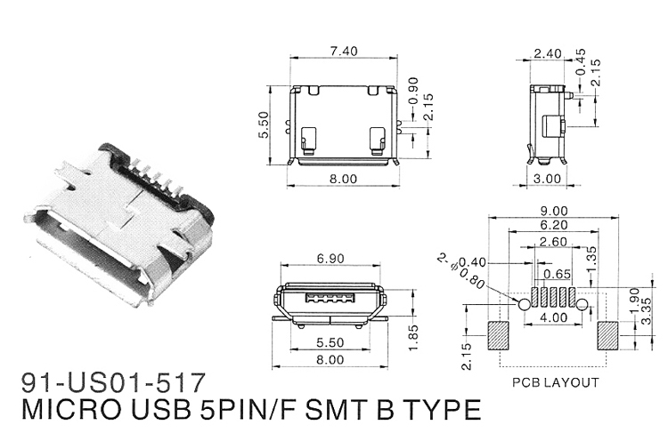 phone charging socket michael connectors micro usb 5pin smt b type has a column full of copper