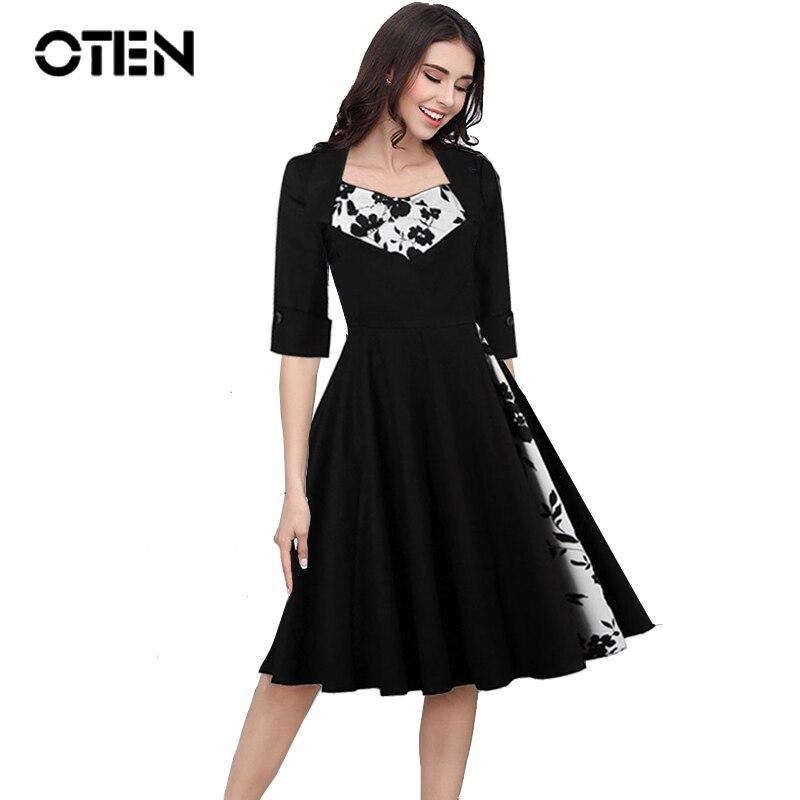 ac3dc6e68 Oten الربيع أنيقة اللباس السيدات خمر روكابيلي الملابس زهرة الأزهار طباعة  نصف كم زائد الحجم فساتين للنساء 4xl 5xl